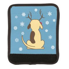 LUGGAGE HANDLE COVER: Fat Dog as Santa, Rudolph the reindeer, Snowman, and sitting at the tree. Good boy! He's fun, festive, and adorable for any dog lover at Christmas! www.fatdogcreatives.com  fat dog, santa, reindeer, snowman, snow, sit, tree, dog-lover, Christmas