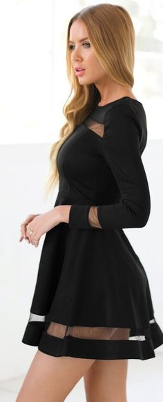 Cute black mini dress! Ideal for holiday, club, cocktail party, night out, wedding guest, or semi-formal occasion. || More at http://www.cutedresses.co/product/skater-long-sleeves-mesh-panel-flare-casual-dress