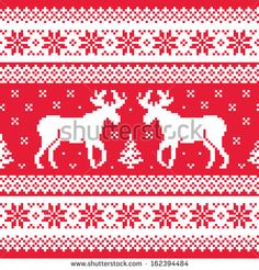 Christmas and winter knitted pattern with reindeer by RedKoala #print #sweater #red #deer