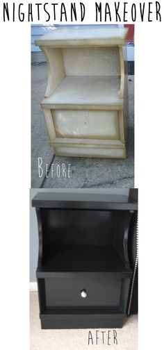 Nightstand makeover: DIY furniture re-do. Painted and refurbished from Salvation Army $25.00 Project