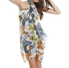 Sexy Women Butterfly Print Chiffon Cover Up Beach Swimwear Wrap Skirt In Stock