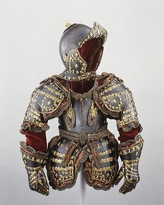 Armor of Infante Luis, Prince of Asturias, 1712  Made by Drouar (possibly André Drouart)  France (Paris)  Blued and gilt steel; gilt brass; silk; cotton; metallic yarn; paper    H. 28 in. (71.1 cm)  Purchase, Armand Hammer, Occidental Petroleum Corporation Gift, 1989 (1989.3)