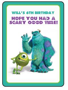 Customized Gift bag tags for a Monster's Inc or Monster's University Party! #monstersinc #partyfavors