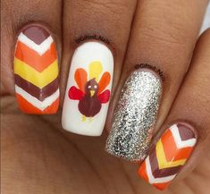 22 easy fall nail designs for short nails thanksgiving nails gobble gobble thanksgiving nail art to inspire livingly prinsesfo Gallery