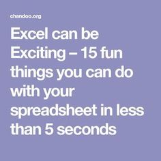 Excel can be Exciting – 15 fun things you can do with your spreadsheet in less than 5 seconds. they also help you keep your spreadsheets organised. Computer Basics, Computer Help, Computer Technology, Computer Programming, Computer Tips, Computer Lessons, Energy Technology, Technology Gadgets, Computer Science
