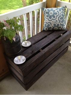 Bench made from pallets. I'm going to do this around my toolbox/mud shoe storage.