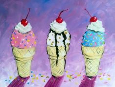 Learn to Paint Summertime Scoops tonight at Paint Nite! Flag Painting, Team Building Events, Paint And Sip, Fine Wine, Learn To Paint, Have Some Fun, Pictures To Draw, Night Out, Summertime