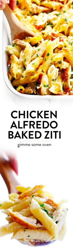 LOVE this Chicken Alfredo Baked Ziti recipe! It's made with a lightened-up creamy alfredo sauce, mozzarella and Parmesan cheese, your choice of pasta, plus any extra veggies you'd like to add. An easy Italian dinner recipe that everyone will love! | Gimme Some Oven #bakedziti #chicken #alfredo #italian #dinner #pasta #recipe