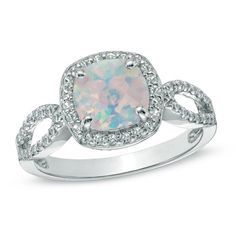 7.0mm Cushion-Cut Lab-Created Opal and White Sapphire Ring in Sterling Silver - View All Rings - Zales
