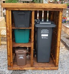 Shed Plans - Wood bin store suitable for storing rubbish and recycling bins. Standard size is 1250 x Wood Storage Shelves, Diy Storage Bench, Firewood Storage, Storage Shed Plans, Storage Bins, Storage Solutions, Smart Storage, Bin Storage Ideas Wheelie, Shelving