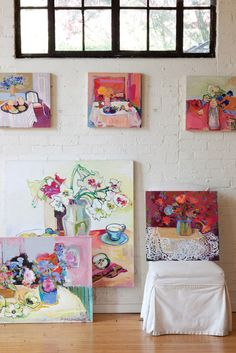 A variety of Paula Rubinstein's paintings. Learn more about the artist and her process.