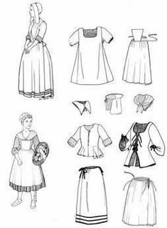 1760 New France Girls Pattern, Colonial - Regency - Romance Historical Costume, Historical Clothing, Historical Dress, Historical Art, Sewing Patterns Girls, Clothing Patterns, Sewing Ideas, Elizabeth Swann Costume, Wild West Costumes