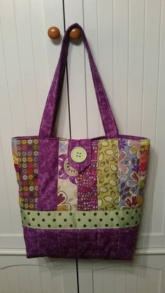 Cute Purple Quilted Tote / Handbag by LaceyAccents on Etsy