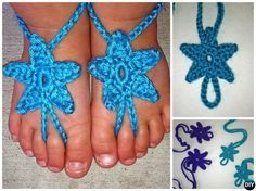 #Crochet Sea Star #Barefoot Baby Sandals Free Pattern   #Baby