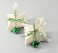 "Potsticker Ornament, Chinese Pasta, Set of 2, Green Dot Ribbon, Green Jingle Bell, Holiday Ornament, Cook's Gift, Chef's Gift Approx. 3"" square  Is there a home cook or a c..."