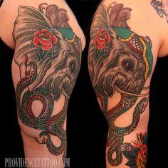 done by Dennis M Del Prete #elephant #tattoo #snake #providencetattoo
