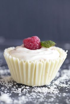 "White Chocolate Raspberry Mousse Cups...love eating my ""cupcake"" wrapper!"