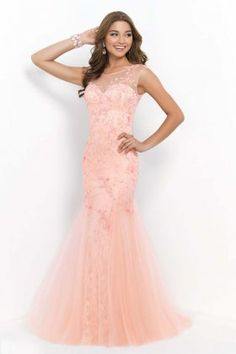 Blush 9960 Coral Pink Sweetheart Floor Length Evening Gowns