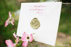White and Gold Wedding. Gold Wax Seal. Beautiful return address with custom gold wax seal.  www.erikajack.com