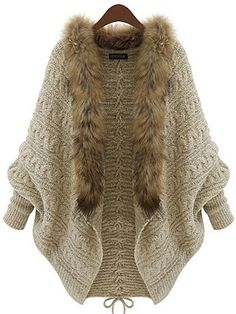 Find Lentta Women's Casual Batwing Sleeve Sweater Cable Knit Cardigan With Fur Collar online. Shop the latest collection of Lentta Women's Casual Batwing Sleeve Sweater Cable Knit Cardigan With Fur Collar from the popular stores - all in one Handgestrickte Pullover, Batwing Cardigan, Cable Knit Cardigan, Batwing Sleeve, Sweater Cardigan, Open Cardigan, Beige Cardigan, Loose Sweater, Cardigan Pattern
