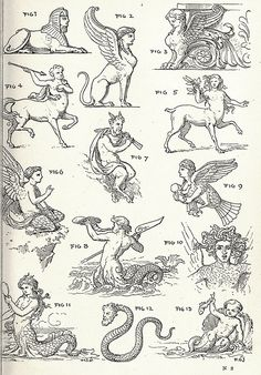 Fabulous creatures, from Theory and practice of design, by Frank G. Gravure Illustration, Illustration Art, Illustrations, Scrapbook Blog, Esoteric Art, Bild Tattoos, Arte Obscura, Occult Art, Tattoo Flash Art