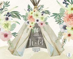 Watercolor teepee, flowers, peonies, tipi, wild, tribal, bohemian, boho clip art, wedding theme, clip art, watercolour branding. VOL. 4