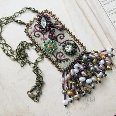 Garden Tapestry Necklace Embroidered on Pale Green Linen | by Sylvia Windhurst