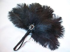 Black Ostrich Feather Fan By Gothic Diva Designs Specialising in Fabulous Elegant Gothic, Victorian Vintage & Steampunk inspired wedding designs,  Including mini hat fascinators, formal hats, feathered hair clips, ostrich & peacock feather fans, black wed