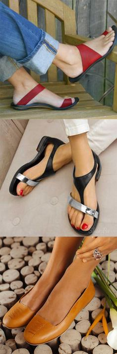 Sandals - Slip On Open Toe Flat Heel Sandals - getting dressed - Zapatos Oxford Shoes Heels, Women Oxford Shoes, Pumps Heels, Shoe Boots, Cute Shoes, Me Too Shoes, Plus Sise, Open Toe Flats, Chunky Heel Pumps