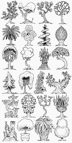 The Etherington Brothers: 68 forest and Jungle concepts! Tree Sketches, Drawing Sketches, Art Drawings, Landscape Drawings, Landscape Architecture Drawing, Doodle Drawing, Doodle Art, Doodle Trees, O Pokemon