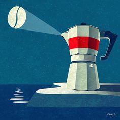 Coffee Illustration, Illustration Artists, Coffee Cafe, Coffee Shop, Coffee Truck, Starbucks Coffee, Coffee Drinks, Escalier Art, Photo Images