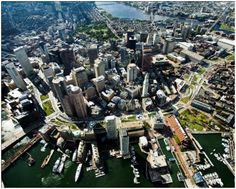 Aerial view of the Rose Kennedy Greenway, Boston