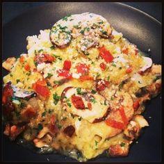 Spaghetti Squash & Mushroom Carbonara (Gluten Free)