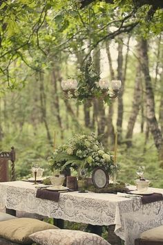 ♥ Gorgeous!! I love the lace tablecloth  outside