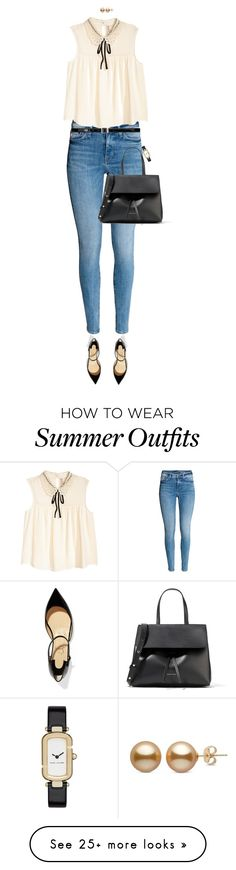 """Summer Tank And Jeans"" by ittie-kittie on Polyvore featuring Christian Louboutin, Mansur Gavriel, Yves Saint Laurent, Marc Jacobs, Summer, jeans, summerstyle, Tank and summerfashion"