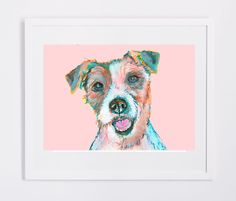 Jack Russell art print, Colorful dog watercolor and acrylic portrait, Animal…