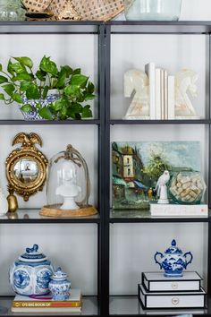 Shelf styling with thrifted and vintage home decor | blue and white |  via @homeicreate