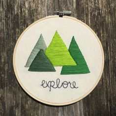 Explore Embroidery Hoop Mountain Themed Wall Art by larkandlaurel
