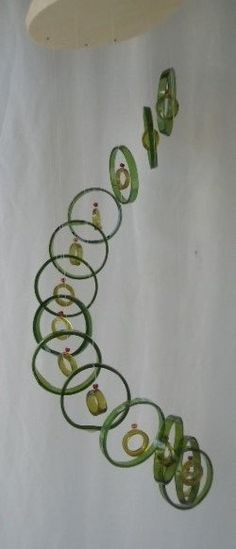 RECYCLING WINE BOTTLES into windchimes, eco friendly and green, wind chimes, mobile, musical and colorful, wind chime 21