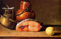 Luis Egidio Meléndez (Spanish, 1716-1780) - Still life with salmon, lemon and three vessels, 1772