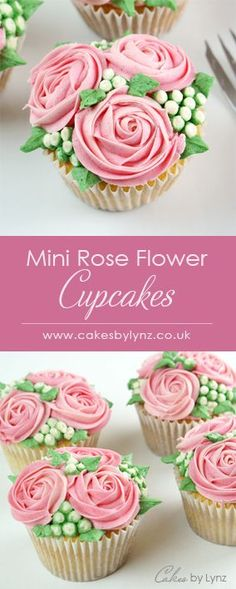 Mini Rose flower cupcake - Piped flowers, buds and leaves, to look like little bouquets. Step by step tutorial to show you all the piping techniques used.