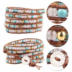 Kelitch Moonstone & Turquoise Beads Charm 5 Wrap Bracelet Leather Chain Jewelry #Kelitch #BangleBeadedcharm