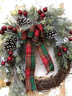 Christmas Wreath, Holiday Wreath, Front Door Wreath wreaths Items similar to Christmas Wreath, Holiday Wreath, Front Door Wreath on Etsy Christmas Wreaths For Front Door, Christmas Door, Holiday Wreaths, Rustic Christmas, Christmas Crafts, Christmas Decorations, Christmas Ornaments, Holiday Decor, Christmas 2019