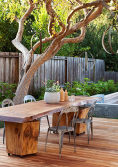 """If you like this one - check out our large selection of Live Edge Slabs, perfect for your custom Patio Table, http://www.jewellhardwoods.com (Patio wood slab table Design Ideas, Pictures, Remodel and Decor """"The table was made by Carl Edwards)"""