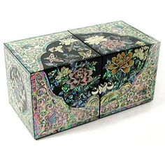 Silver J Wooden Jewellery Box With Hidden Drawers, Mother Of Pearl Lacquer Jewel…