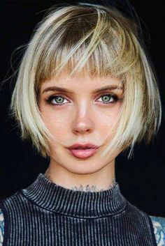 Shaggy Bob With Trimmed Front Bangs ★ Sh. Shaggy Bob With Tri Short Messy Haircuts, Bob Hairstyles With Bangs, Easy Hairstyles For Medium Hair, Short Hair With Bangs, Hairstyles For Round Faces, Short Hair Cuts, Bob Haircuts, Hairstyles Haircuts, Braided Hairstyles