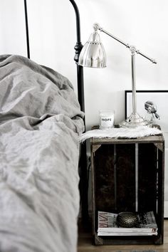 The quest for the perfect bedside table Perfect Bedside Table, Bedroom Decor, Interior, Bedside Table, Bedroom Inspirations, Vintage Industrial Furniture, Crate Bedside Table, Home Bedroom, Home Decor