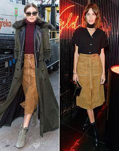 Olivia Palermo y Alexa Chung con la misma falda de ante