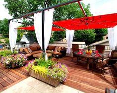 dachterrasse pergola sonnenschirme- gardinen sichtschutz lounge