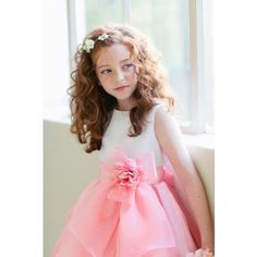 Beautiful Sleeveless Flower Girl Dress - White/Coral